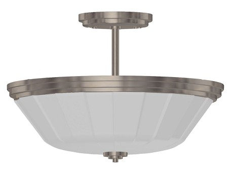 Two Light Chrome Satin Acid Frosted Reeded Glass Bowl Semi-Flush Mount