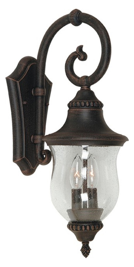 Two Light Seeded Clear Glass Natural Bronze Wall Lantern