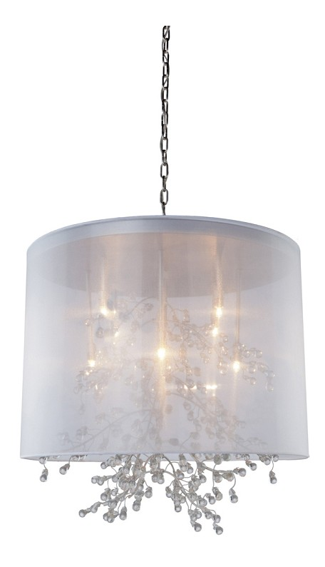 Eight Light Chrome Organza Shade Drum Shade Pendant