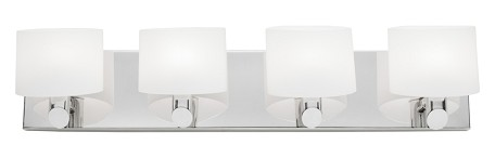 Four Light Chrome Frosted White Glass Vanity
