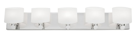 Five Light Chrome Frosted White Glass Vanity
