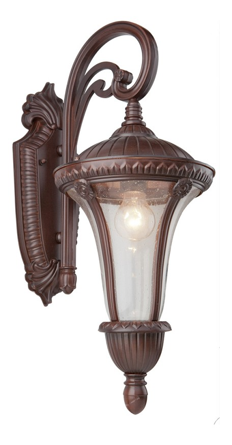One Light Seeded Clear Glass Mahogany Wall Lantern