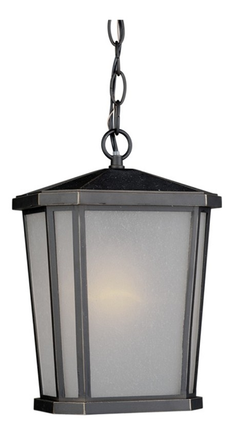 One Light Oil Rubbed Bronze Interior-White, Outer-Etched Glass Hanging
