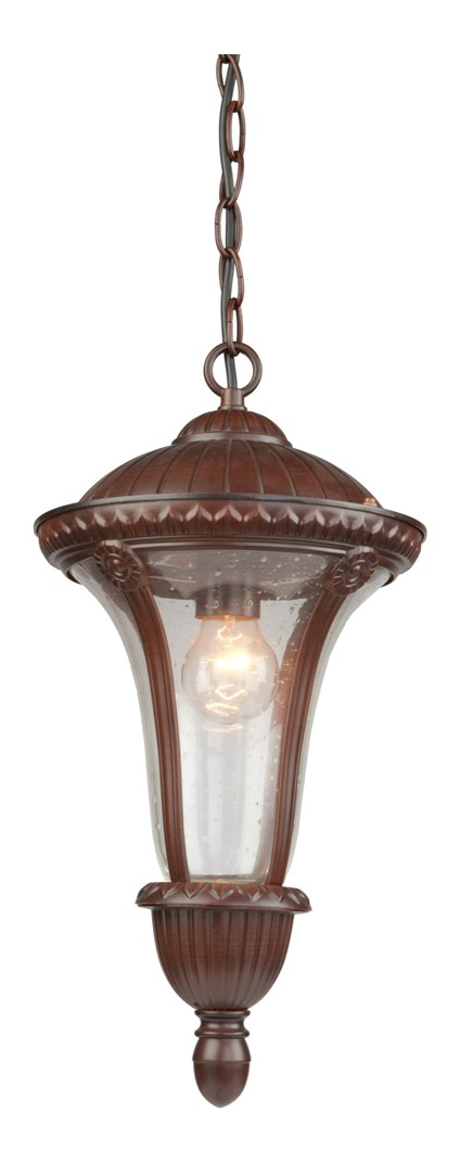 One Light Seeded Clear Glass Mahogany Hanging Lantern