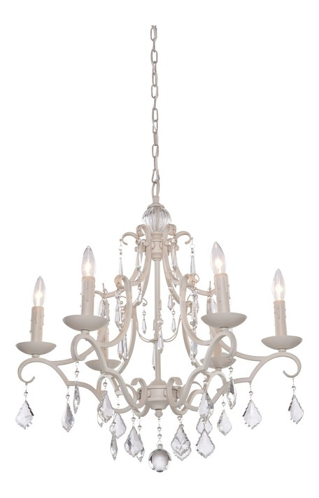 Six Light Antique White Up Chandelier