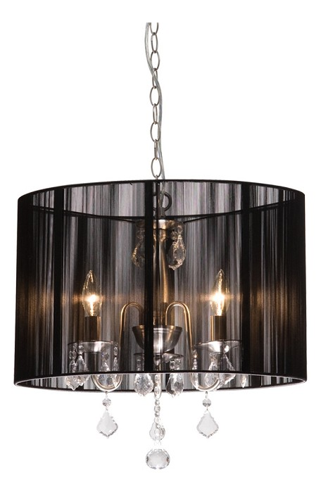 Four Light Polished Nickel Silk String Shade Drum Shade Chandelier