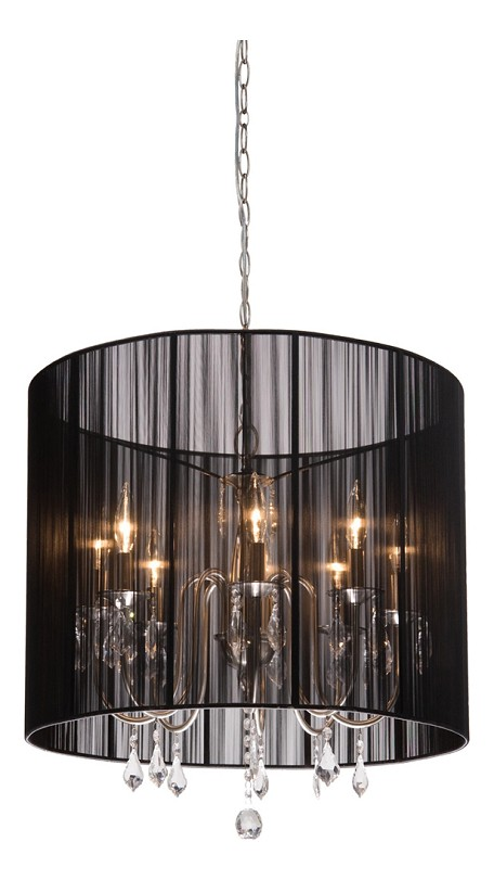 Eight Light Polished Nickel Silk String Shade Up Chandelier