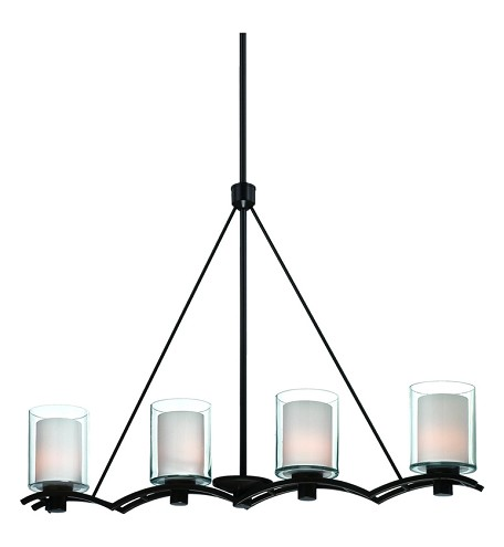 Four Light Oil Rubbed Bronze Interior-Frosted, Outer-Clear Glass Islan