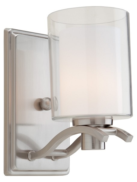 One Light Polished Nickel Interior-Frosted, Outer-Clear Glass Wall Lig