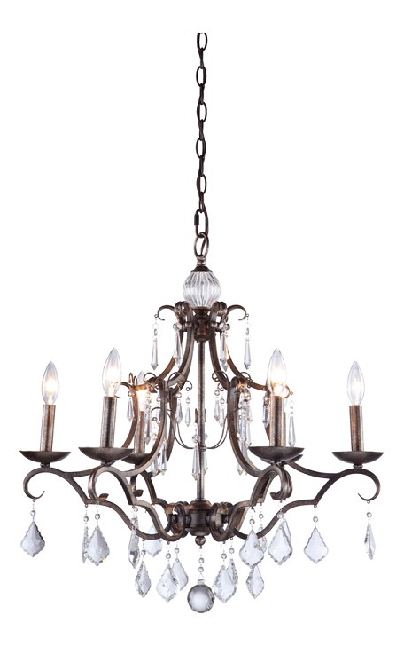 Dark Bronze Vintage 6 Light 1 Tier Chandelier With Dark Bronze Finish