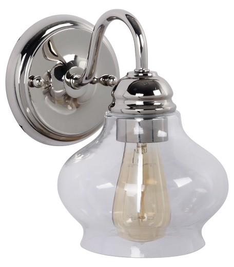 Jeremiah One Light Polished Nickel Antique Clear Glass Wall Light - 35001-PLN