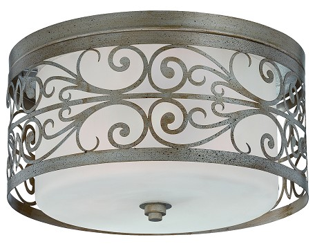 Jeremiah Three Light Athenian Obol Frosted Glass Drum Shade Flush Mount - 35883-AO