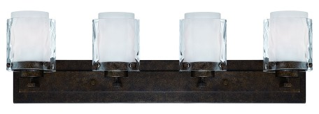 Jeremiah Four Light Peruvian Bronze Clear Hammered/alabaster Glass Vanity - 35404-PR
