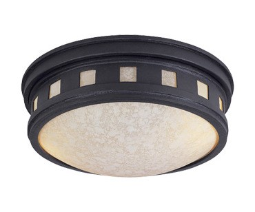 Designers Fountain Two Light Oil Rubbed Bronze Amber Glass Drum Shade Flush Mount - 2375-AM-ORB