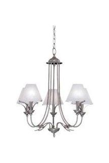Pewter 5 Light Chandelier with Faux Alabaster Shades from the Palladium Collection
