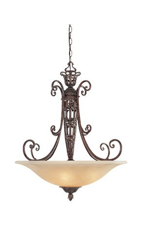 Burnt Umber Three Light Down Lighting Bowl Pendant from the Amherst Collection