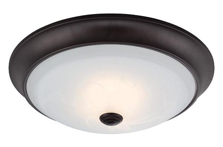 "Designers Fountain LED Oil Rubbed Bronze Alabaster Glass Bowl 11"" Flush Mount - LED1001-34"