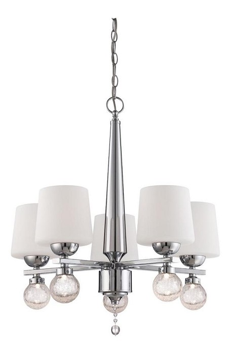 Designers Fountain Five Light Chrome White Opal Glass Up Chandelier - LED85085-CH
