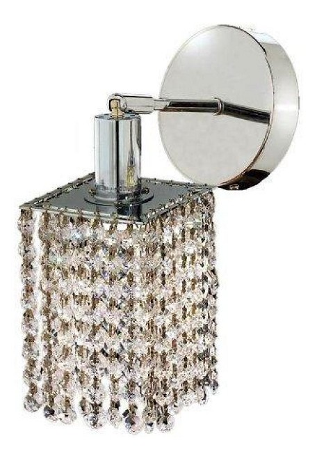 "Mini Collection 1-Light 6"" Chrome Wall Sconce with Golden Teak Smoky Royal Cut Crystal 1281W-R-P-GT/RC"