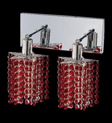 "Mini Collection 2-Light 6"" Chrome Wall Sconce with Bordeaux Red Royal Cut Crystal 1282W-O-P-BO/RC"