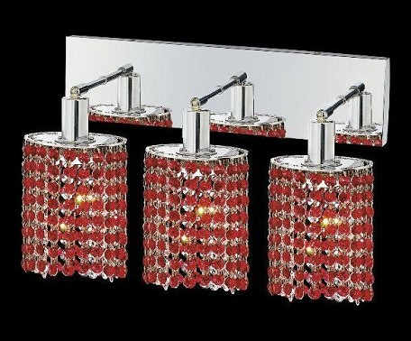 "Mini Collection 3-Light 14"" Chrome Wall Sconce with Bordeaux Red Royal Cut Crystal 1283W-O-E-BO/RC"