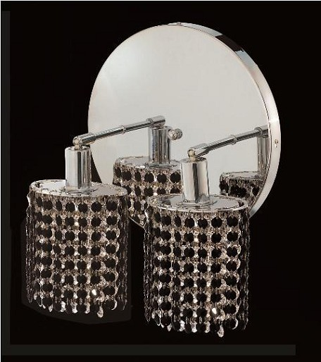 "Mini Collection 2-Light 9"" Chrome Wall Sconce with Jet Black Royal Cut Crystal 1282W-R-E-JT/RC"