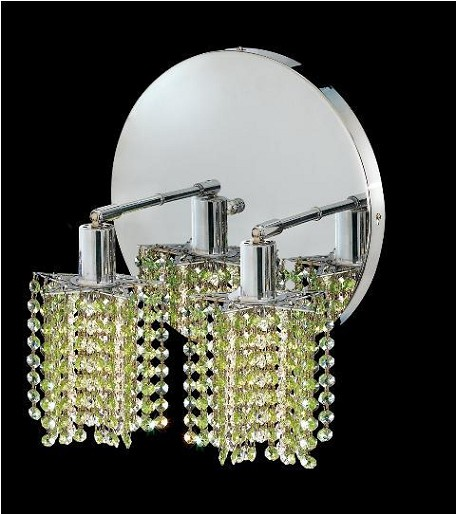 "Mini Collection 2-Light 9"" Chrome Wall Sconce with Peridot Light Green Royal Cut Crystal 1282W-R-P-LP/RC"
