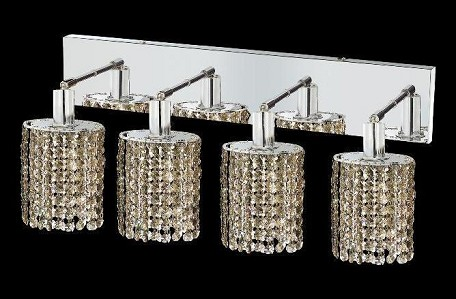 "Mini Collection 4-Light 26"" Chrome Wall Sconce with Golden Teak Smoky Royal Cut Crystal 1284W-O-E-GT/RC"