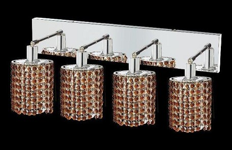 "Mini Collection 4-Light 26"" Chrome Wall Sconce with Topaz Brown Royal Cut Crystal 1284W-O-E-TO/RC"