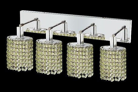 "Mini Collection 4-Light 26"" Chrome Wall Sconce with Peridot Light Green Royal Cut Crystal 1284W-O-E-LP/RC"