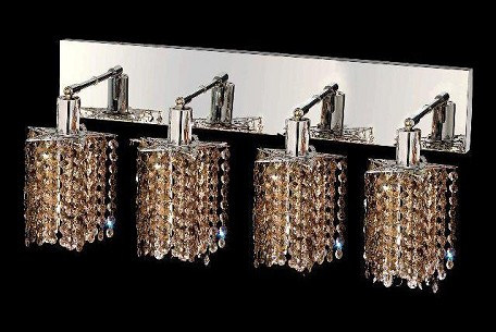 "Mini Collection 4-Light 26"" Chrome Wall Sconce with Golden Teak Smoky Royal Cut Crystal 1284W-O-P-GT/RC"