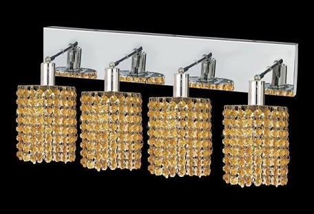 "Mini Collection 4-Light 26"" Chrome Wall Sconce with Light Topaz Yellow Royal Cut Crystal 1284W-O-R-LT/RC"