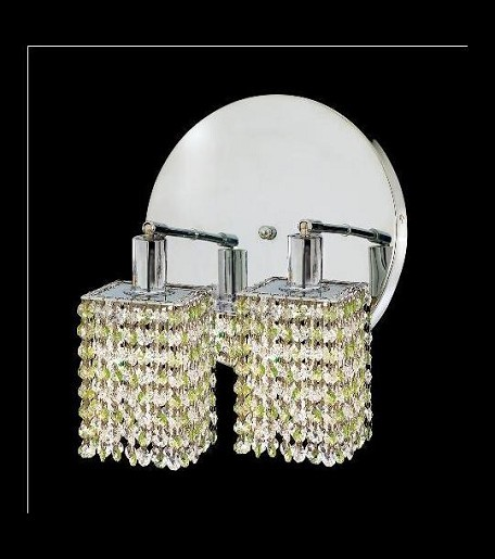 "Mini Collection 2-Light 9"" Chrome Wall Sconce with Peridot Light Green Royal Cut Crystal 1382W-R-S-LP/RC"