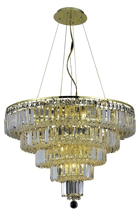 "Maxim Collection 14-Light 26"" Gold Chandelier with Clear Royal Cut Crystal 2036D26G/RC"