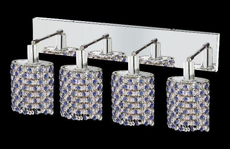 "Mini Collection 4-Light 26"" Chrome Wall Sconce with Sapphire Blue Royal Cut Crystal 1384W-O-E-SA/RC"