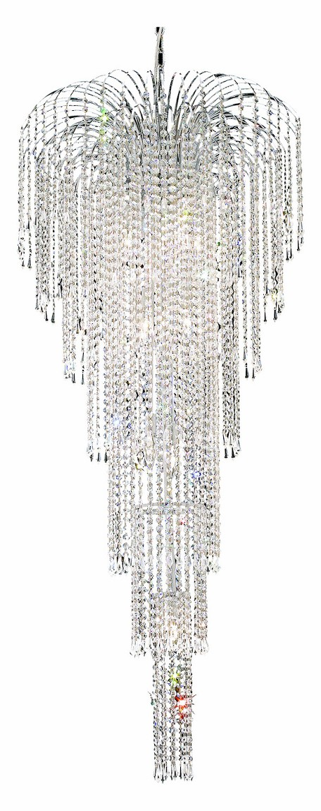 "Falls Collection 11-Light 25"" Chrome Chandelier with Clear Royal Cut Crystal 6801G25C/RC"