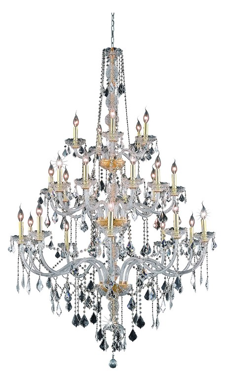 Elegant Lighting 7825G43G/Rc Royal Cut Clear Crystal Verona 25-Light, Three-Tier Crystal Chandelier, Finished In Gold With Clear Crystals