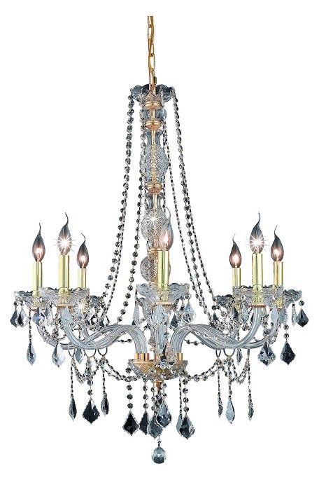 "Verona Collection 8-Light 28"" Gold Chandelier with Clear Royal Cut Crystal 7858D28G/RC"