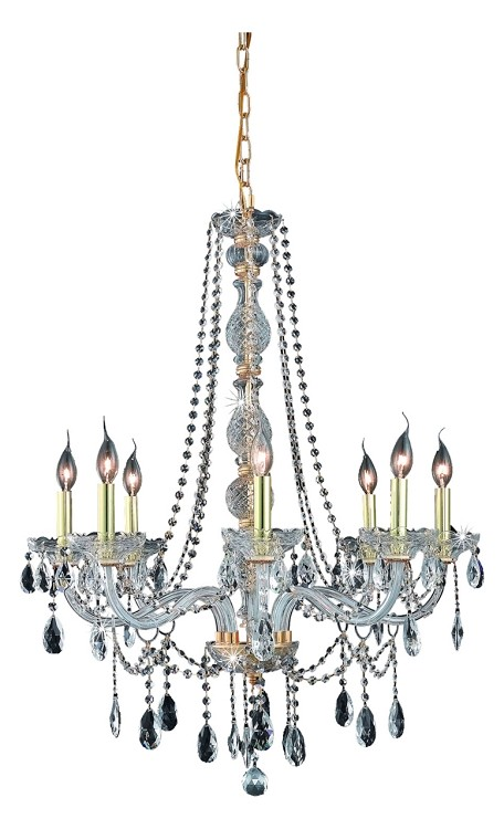 "Verona Collection 8-Light 28"" Gold Chandelier with Clear Royal Cut Crystal 7958D28G/RC"