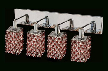 "Mini Collection 4-Light 26"" Chrome Wall Sconce with Bordeaux Red Royal Cut Crystal 1384W-O-S-BO/RC"