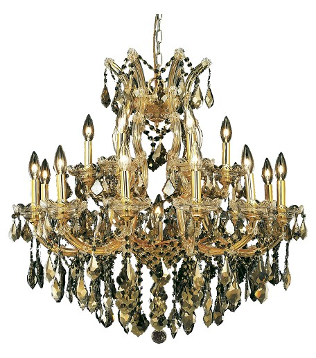 "Maria Theresa Collection 19-Light 30"" Gold Chandelier with Golden Teak Smoky Royal Cut Crystal 2800D30G-GT/RC"