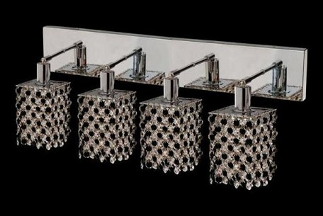 "Mini Collection 4-Light 26"" Chrome Wall Sconce with Jet Black Royal Cut Crystal 1384W-O-S-JT/RC"