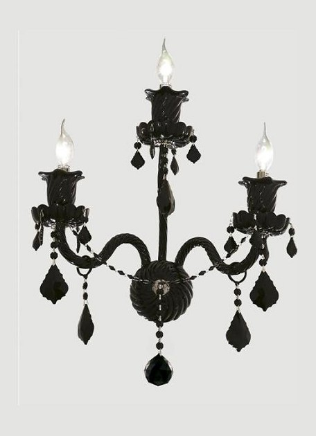 "Elizabeth Collection 3-Light 14"" Jet (Black) Wall Sconce with Jet Black Royal Cut Crystal 7830W3B/RC"