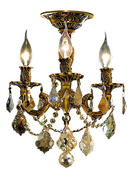 "Rosalia Collection 3-Light 13"" French Gold Semi Flush Mount with Golden Teak Smoky Royal Cut Crystal 9203F13FG-GT/RC"