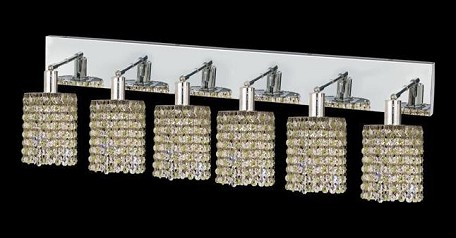 "Mini Collection 6-Light 40"" Chrome Wall Sconce with Peridot Light Green Royal Cut Crystal 1386W-O-R-LP/RC"