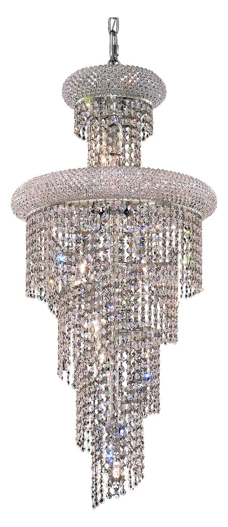 "Spiral Collection 10-Light 16"" Chrome Chandelier with Clear Royal Cut Crystal 1800SR16C/RC"