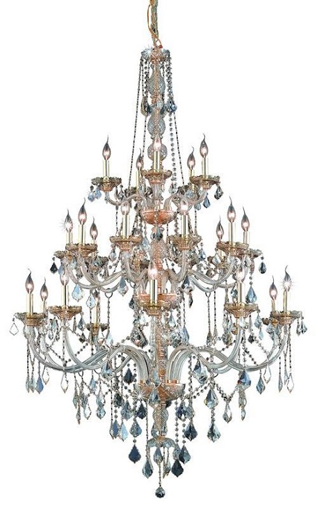 "Verona Collection 25-Light 43"" Golden Shadow Chandelier with Golden Shadow Champagne Royal Cut Crystal 7825G43GS-GS/RC"