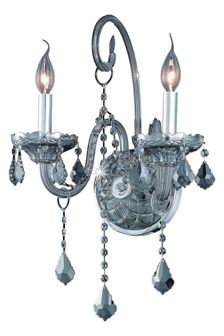 "Verona Collection 2-Light 14"" Gray Wall Sconce with Silver Shade Grey Royal Cut Crystal 7852W2SS-SS/RC"