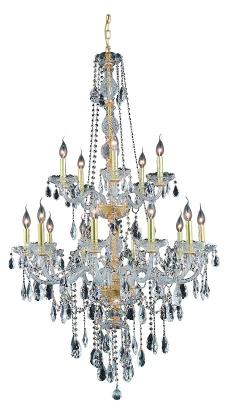 "Verona Collection 15-Light 33"" Gold Chandelier with Clear Royal Cut Crystal 7915G33G/RC"