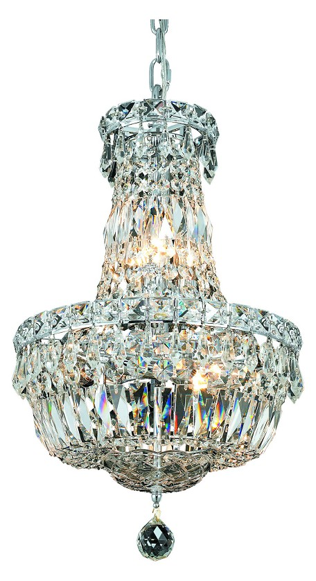 "Tranquil Collection 6-Light 12"" Chrome Chandelier with Clear Royal Cut Crystal 2528D12C/RC"